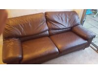 Brown Leather 3 seater sofa - Free to uplift