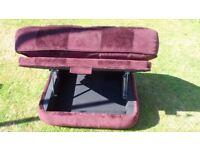 Maroon footstool with storage