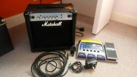Marshall MG15CF amp and effects pedal bundle
