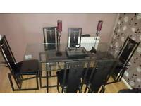6 seater glass and metal dining table