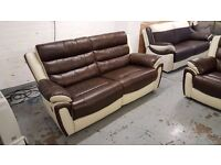 Ex Display SCS FIESTA BROWN & CREAM LEATHER 3+2 Seater Recliner Sofas CAN DELIVER View Collect NG177