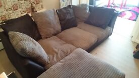 Brown and grey 3 seater sofa