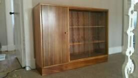 "Vintage Morris of Glasgow ""Cumbrae"" Teak Glazed bookshelf"