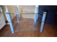 Silver glass TV stand