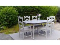 Lovely, Extending Dining Table & 5 Chairs. Paris Grey, Shabby Chic. Delivery Available.