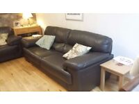 Leather Sofas, Dark Brown, 4 seater + 2 seater. 7 years old, CLS, cost £1600, no marks or damage.