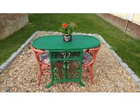 Cane Conservatory Table & 2 matching Chairs with cushions