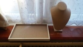 Jewellery display trays and bust