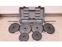 32KG BODYMAX BARBELL WEIGHTS SET IN LOCKABLE BOX