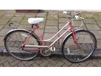 """ladies emmele town bike 17"""" frame 3 speed stumery archer gear fully serviced gears breaks and wheels"""