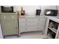Kitchen sideboard with tiled top and sliding doors