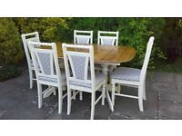 Shabby Chic Cream Painted Solid Pine Extending Table & 6 Chairs Spotty Fabric
