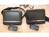 """Bush Twin Portable DVD Players for Car or Home 7"""" Screens"""