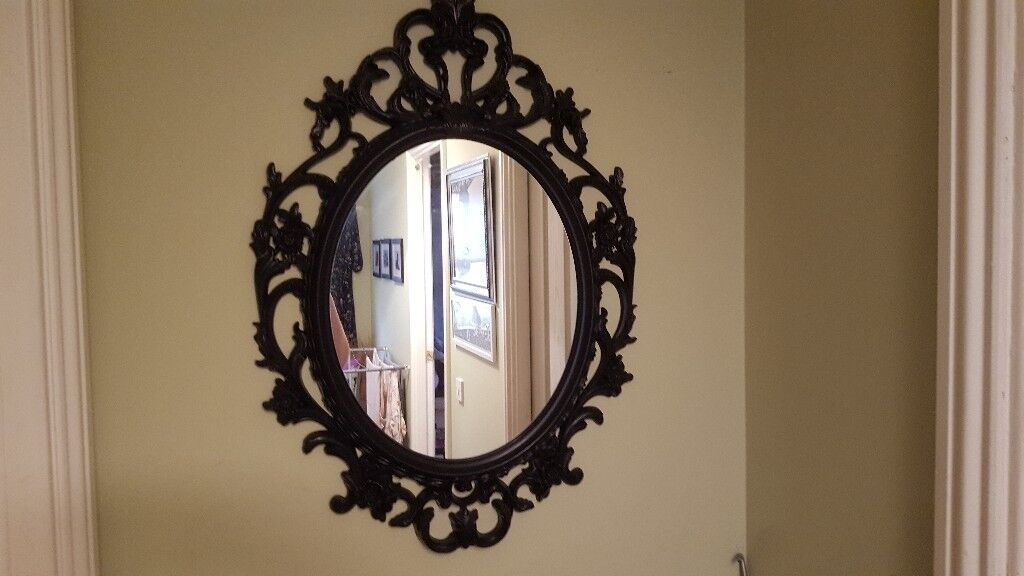 Vintage Retro Style Large Over Mantle Wall Mirror Black French Style