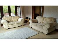 2 X 2 Seater Beige Fabric Sofas Excellent Condition