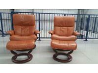 Ekornes Stressless 2 x swivel recliner Tan leather chairs & 2 footstools
