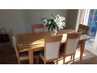 Matching Solid Birch Dining Table, 6 x Chairs, Sideboard, Bookcase, TV Unit and Nest of Tables