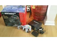 N64 Console set up, N64 Racing Wheel and Roadster game NINTNEDO