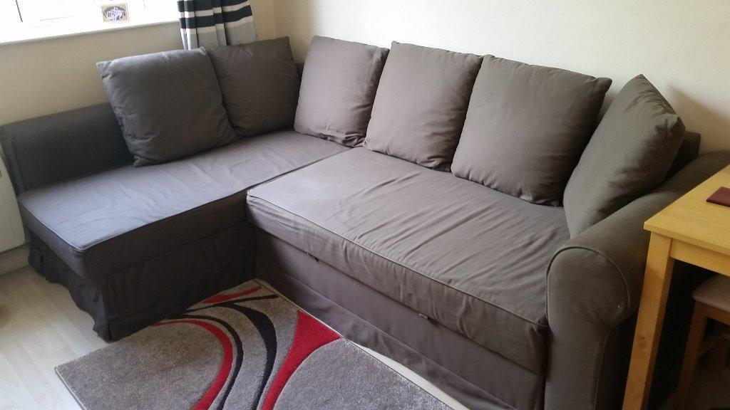 Brown ikea manstad corner sofa bed with chaise longue in for Chaise longue ikea uk