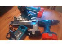 Makita 18v power tool set,Hammer Drill - Circular Saw, batteries, and charger, see photos and detail