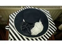 Navy/White Wedding Hat