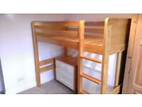 Texas High Sleeper Bed + Wardrobe + Chest of Drawers ( M&S)