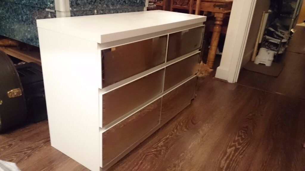 Prague Chest Of Drawers X White With Mirrored Front Assembled