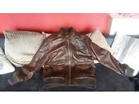 MENS BROWN LEATHER BOMBER JACKET WORN ONCE