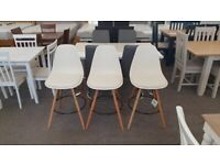3x Bar Stools / Chairs White By Julian Bowen Can Deliver