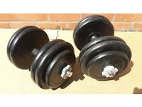 53KG CAST IRON RUBBER ENCASED DUMBBELL WEIGHTS SET - 26.5KG EACH