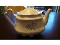 VINTAGE SHABBY CHIC EVERYDAY TEAPOT ENGLISH STYLE BLUE FLOWER PRINT