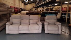 Ex-display DFS Newbury grey fabric manual 3 seater sofa and electric armchair