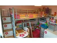 SOLD STC. High sleeper with desk and storage in steps - COLLECTION FROM BRADLEY STOKE
