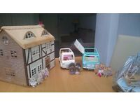 Sylvanian Families Farmhouse, Campervan and Ice Cream Van with 13 figures