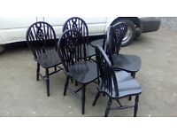 Six matching pine, painted dining chairs