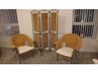 2 rattan and wrought iron chairs with matching room divider