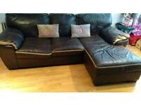 Dfs leather corner sofa in brown and tan
