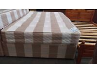 Dreamvendor striped double divan mattress and base set