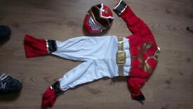 Red Power Ranger Deluxe playsuit age 5/6 with muscle chest