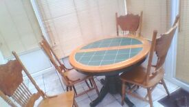 Solid Wood and Tile Extending Table with 4 Chairs