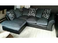 NEW Graded Black Leather Grey Chenille Fabric Corner Sofa FREE Local Delivery