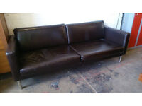 IKEA 2 seater brown leather lounge sofa (delivery available)