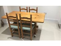 Solid Pine Dining Room Table and 4 Chairs