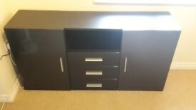 Sideboard Chest of Drawers Skadu in Black matt / Fronts in Black High Gloss