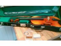 Violin in lockablecase spare strings resin etc