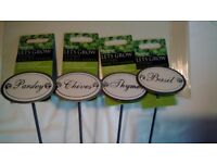 ANTIQUE TYPE METAL HERB PLANT MARKERS - BASIL,PARSLEY,THYME,CHIVES. NEW. IDEAL GIFT.