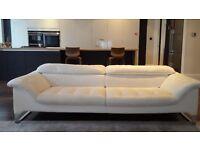 Roche Bobois white leather 3 seater sofa