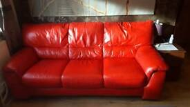 DFS scarlet red 3 seater sofa