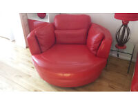 Swivel Round Armchair Red Leather