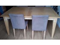 Dinning table with suedette chairs x4